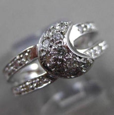 ANTIQUE WIDE .65CT DIAMOND 14KT WHITE GOLD 3D PAVE MOON DOUBLE BAND RING #3217