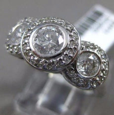 ESTATE 1CT DIAMOND 14KT WHITE GOLD HALO 3 STONE CLASSIC PAST PRESENT FUTURE RING