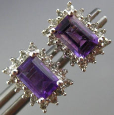 ESTATE 1CT DIAMOND & AAA AMETHYST 14K WHITE GOLD HALO EMERALD CUT STUD EARRINGS