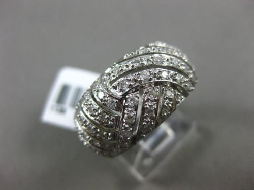 ESTATE WIDE .50CT DIAMOND 18K WHITE GOLD 3D CRISS CROSS WEDDING ANNIVERSARY RING