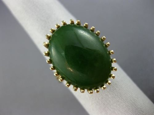 ANTIQUE EXTRA LARGE AAA JADE 14KT YELLOW GOLD 3D HANDCRAFTED OVAL SOLITAIRE RING