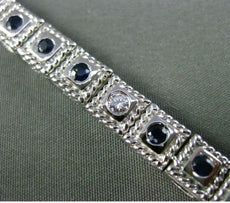 ESTATE 2.80CT DIAMOND SAPPHIRE 14KT WHITE GOLD FILIGREE MILGRAIN TENNIS BRACELET