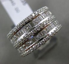 ESTATE LARGE 2.59CT DIAMOND 14KT WHITE GOLD MULTI ROW SEMI ETERNITY WEDDING RING