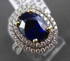ESTATE 4.78CT DIAMOND GIA SAPPHIRE 18KT WHITE GOLD OVAL INFINITY ENGAGEMENT RING