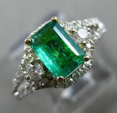 ESTATE 1.44CT DIAMOND & AAA EMERALD 14KT 2 TONE GOLD SQUARE HALO ENGAGEMENT RING