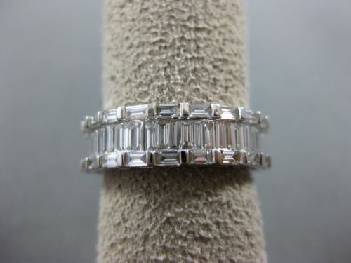 WIDE 2.93CT BAGUETTE DIAMOND 14KT WHITE GOLD 3D 3 ROW ETERNITY ANNIVERSARY RING