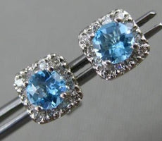 ESTATE .80CT DIAMOND & AAA BLUE TOPAZ 14KT WHITE GOLD SQUARE HALO STUD EARRINGS