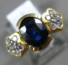 1.80CT DIAMOND & AAA OVAL SAPPHIRE 14K YELLOW GOLD 3D SEMI BEZEL ENGAGEMENT RING