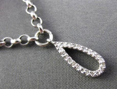 ESTATE LONG .10CT ROUND DIAMOND 14KT WHITE GOLD RAINDROP CHARM BRACELET