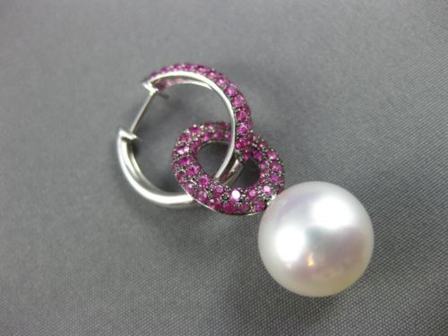 LARGE 2.75CT AAA PINK SAPPHIRE & SOUTH SEA PEARL 18K WHITE GOLD HANGING EARRINGS