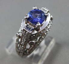 ESTATE WIDE 2.0CT DIAMOND & AAA TANZANITE 18KT WHTIE GOLD ETOILE ENGAGEMENT RING