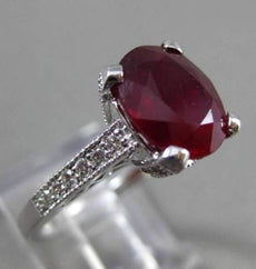 ESTATE 3.93CT DIAMOND & EXTRA FACET RUBY 14K WHITE GOLD 3D ENGAGEMENT RING 20011