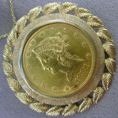 LARGE 22KT & 14KT YELLOW GOLD 10 DOLLAR 1881 HANDCRAFTED LIBERIRTY COIN PENDANT
