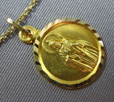 ANTIQUE 14KT YELLOW GOLD 3D HANDCRAFTED CIRCULAR CHRIST RELIGIOUS PENDANT #25001