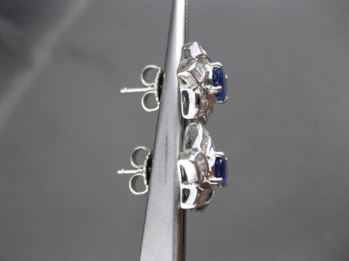 ANTIQUE 1.74CT DIAMOND & AAA SAPPHIRE 18KT YELLOW GOLD 3D STAR FLOWER EARRINGS