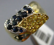 ESTATE WIDE 1.10CT BLUE & YELLOW SAPPHIRE 14KT 2 TONE GOLD HANDCRAFTED LOVE RING