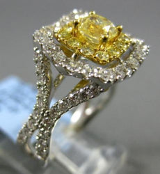 LARGE 2.0CT WHITE & FANCY YELLOW DIAMOND 18KT WHITE GOLD SQUARE ENGAGEMENT RING