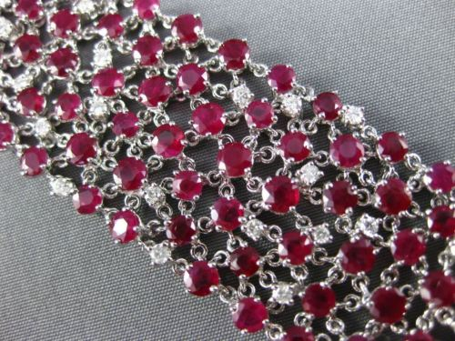 ESTATE EXTRA WIDE 38.47CT DIAMOND RUBY 18KT WHITE GOLD 3D ETOILE TENNIS BRACELET