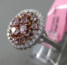ESTATE LARGE 1.76CT WHITE & PINK DIAMOND 18K GOLD MULTI SHAPE ROUND CLUSTER RING