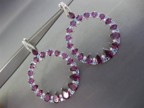 LARGE 10.57CT DIAMOND & AAA BLUE TOPAZ AMETHYST 14KT WHITE GOLD HANGING EARRINGS