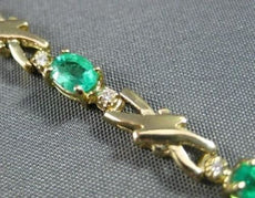 ANTIQUE 1.99CT DIAMOND & AAA EMERALD 14KT Y GOLD LOVE BRACELET BEAUTIFUL #12095