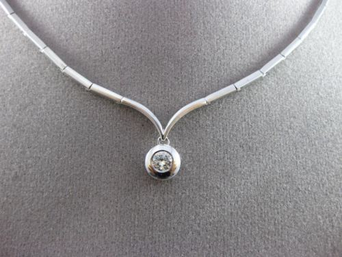 ESTATE .20CT ROUND SOLITAIRE DIAMOND 14KT WHITE GOLD FLOATING NECKLACE #16702