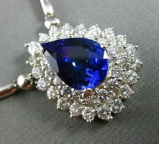 ESTATE LARGE 4.94CT DIAMOND & TANZANITE 18K WHITE GOLD DROP DOUBLE HALO NECKLACE