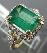 LARGE 3.60CT DIAMOND & AAA EMERALD 14KT WHITE & YELLOW GOLD HALO ENGAGEMENT RING