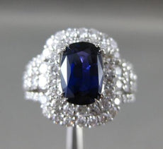 ESTATE EXTRA LARGE 4.06CT DIAMOND & SAPPHIRE 18K WHITE GOLD HALO ENGAGEMENT RING