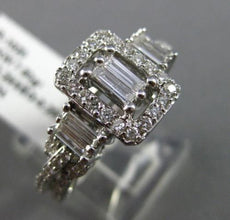 ESTATE WIDE .54CT ROUND & BAGUETTE DIAMOND 18KT WHITE GOLD 3D RECTANGULAR RING