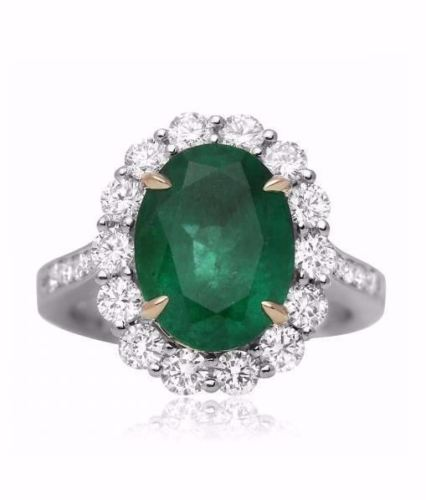 LARGE 4.6CT DIAMOND & AAA COLOMBIAN EMERALD 18K 2 TONE GOLD HALO ENGAGEMENT RING