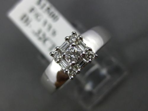 .32CT ROUND & BAGUETTE DIAMOND 14KT WHITE GOLD SQUARE FRIENDSHIP LOVE RING #1573