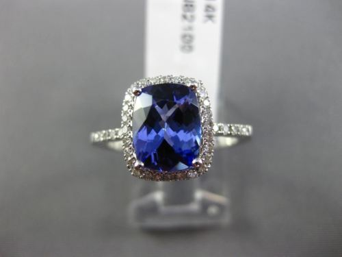 EFFY 1.20CT DIAMOND & TANZANITE 14KT WHITE GOLD 3D HALO CLASSIC ENGAGEMENT RING