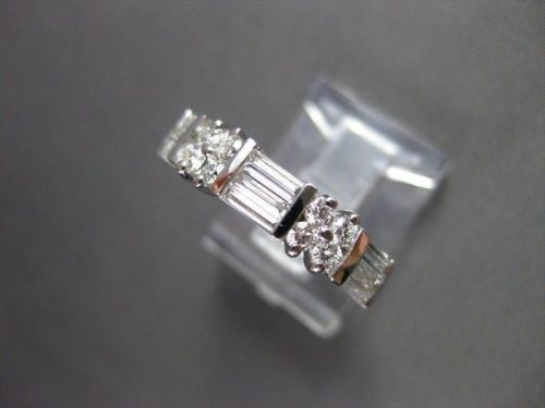ANTIQUE 1.08CT DIAMOND 14K W GOLD BAGUETTE & ROUND FLOWER ANNIVERSARY RING #5631