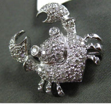 ESTATE .54CT DIAMOND 18KT WHITE GOLD 3D PAVE CANCER CRAB FLOATING PENDANT BROOCH