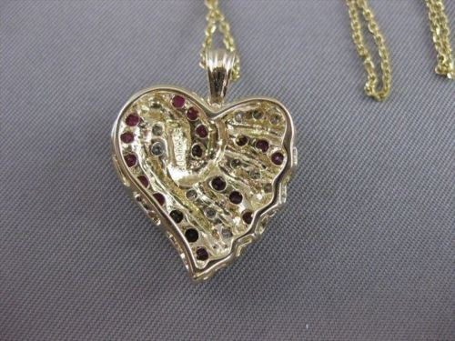 ESTATE 1.10CTW DIAMOND RUBY HEART 14K WY YELLOW GOLD PENDANT 19MM + CHAIN #20715