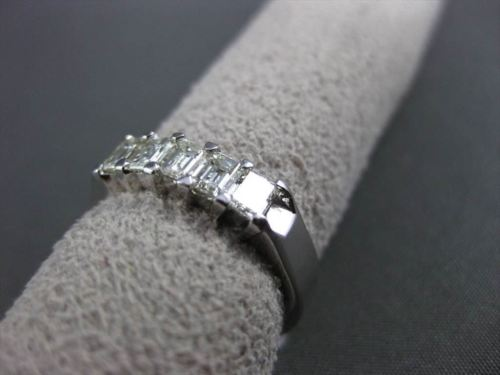 ESTATE 1.0CT DIAMOND 14KT WHITE GOLD 5 STONE SHARED PRONG ANNIVERSARY RING