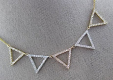 ESTATE .74CT DIAMOND 18KT WHITE YELLOW & ROSE GOLD 3D TRIANGULAR SPIKE NECKLACE