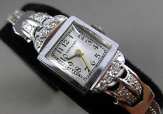 ANTIQUE LARGE & LONG OLD MINE DIAMOND 14K WHITE GOLD HAMILTON SQUARE WATCH 23759