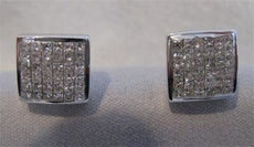 1.0CT DIAMOND PRINCESS 14K WHITE GOLD STUD SCREWBACK EARRINGS F/G VVS 9MM #19721