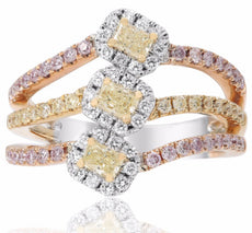 1.04CT WHITE YELLOW & PINK DIAMOND 18KT TRI COLOR GOLD 3 STONE ANNIVERSARY RING