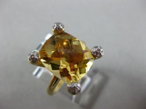 ESTATE LARGE 4.99CT DIAMOND & AAA CITRINE 14K WHTIE GOLD 3D CUSHION CUT FUN RING