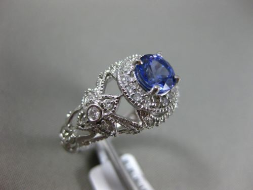 LARGE 1.36CT DIAMOND & AAA TANZANITE 14KT WHITE GOLD 3D FILIGREE ENGAGEMENT RING