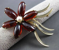 ANTIQUE LARGE 15.0CT AAA GARNET & PEARL 14KT YELLOW GOLD FLOWER BROOCH PIN 2968
