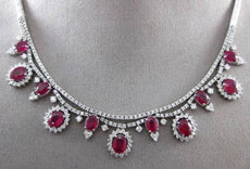 ESTATE 21.47CT DIAMOND & AAA RUBY 18KT WHITE GOLD 3D CLUSTER FLOATING NECKLACE