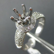 ESTATE WIDE .50CT DIAMOND 14K WHITE GOLD 6 PRONG SEMI MOUNT HALO ENGAGEMENT RING