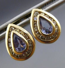 ESTATE .70CT DIAMOND & TANZANITE 14K YELLOW GOLD PEAR SHAPE STUD EARRINGS #25207