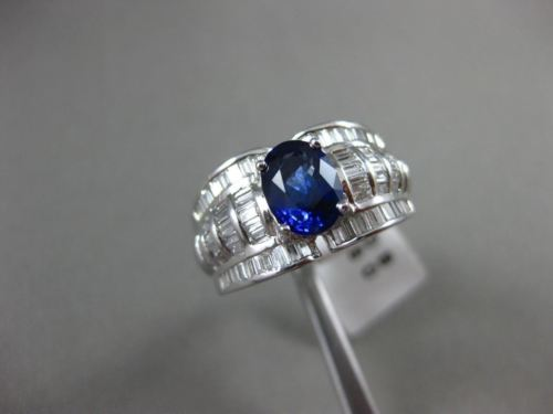 ESTATE WIDE 3.27CT DIAMOND & SAPPHIRE 18K WHITE GOLD 3D FILIGREE ENGAGEMENT RING