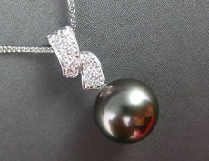 ESTATE LARGE .16CT DIAMOND 18K WHITE GOLD AAA TAHITIAN PEARL DROP NECKLACE 20295