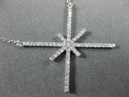 ESTATE .22CT ROUND DIAMOND 18KT WHITE GOLD 3D X SNOW FLAKE STAR FUN NECKLACE